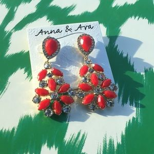 Anna & Ava chandelier statement earrings red gold